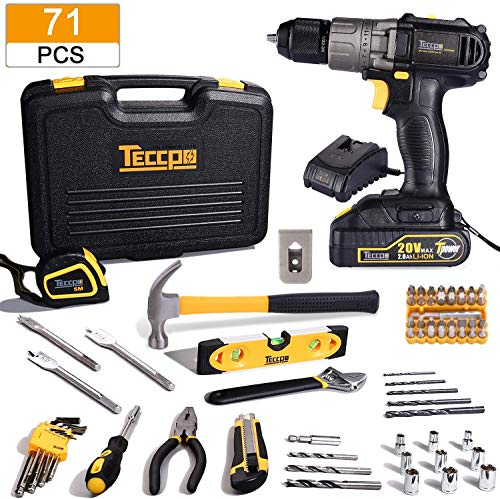 Tool Kit with Drill, 20V Cordless Drill Driver & 71Pcs Home Tool Kit, with 2.0Ah Battery and Fast Charger, Hammer, Socket Screwdriver, Wrench, Storage Toolbox