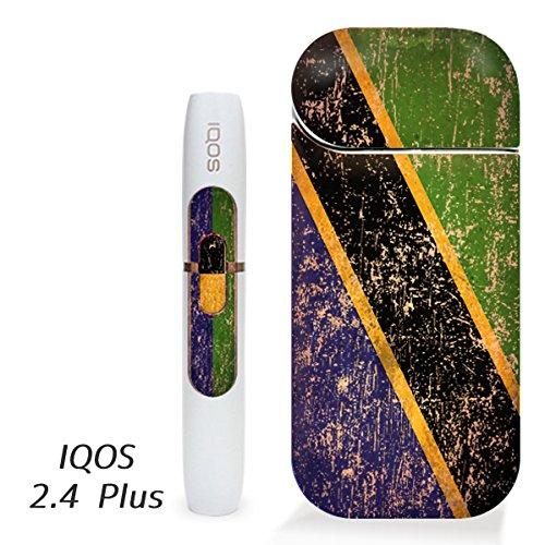 アイコス用 スキンシール ( 2.4Plus 用 ) タンザニア 国旗 (アンティーク) シール ステッカー iQOS用,