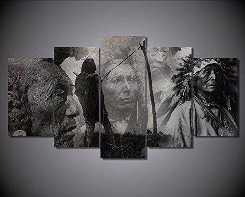 5 pcs natif indien sur toile – 5 Pièces American Native Indian sur toile pour votre salle de maison/bureau, 30x50cmx2pcs, 30x65cmx2pcs, 30x80cmx1pc