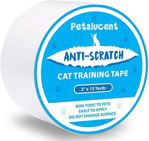 Petslucent Cat Scratch Abschreckendes klebriges Pfotenband,Cat Möbelschutz Trainingsband Anti Scratching,Doppelseitige Schutzvorrichtungen für Teppich, Sofa, Couch, Tür (Blau - 3 x 15 Meter)