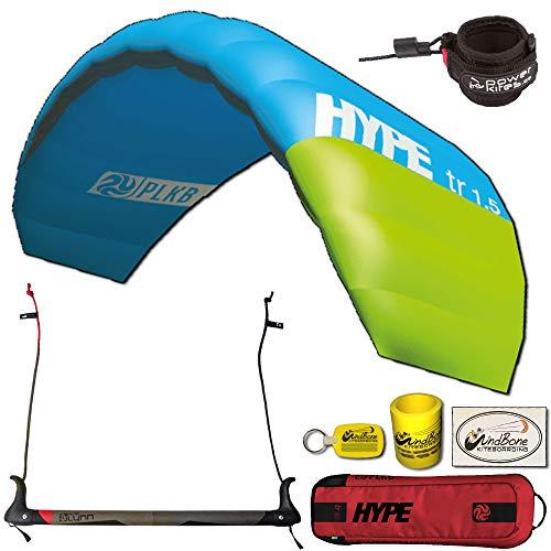 Peter Lynn Hype TR Foil Power 2-Line Control Bar Kiteboarding Trainer Kite w Leash Bundled with WindBone Kiteboarding Lifestyle Decals & Key Fob (1.5M Aqua/Green)