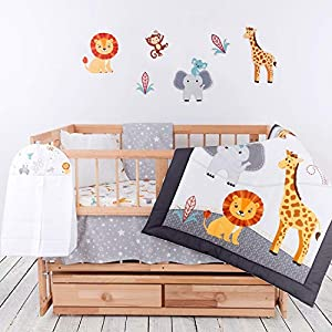 Crib Bedding Sets for Girls and Boys – 8-Piece Baby Bedding Set – Premium Turkish Cotton Baby Bedding – Breathable and Comfy Safari Nursery Decor – Includes Mattress Protector by pamooq