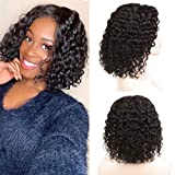 Arkaiesha Human Hair Water Wave Curly Closure Wig Wet and Wavy Short Bob Wig 4x4 Lace Front Wigs with Baby Hair Natural Color 10 Inch