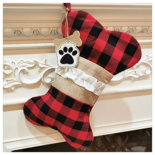 DELUX Buffalo Plaid Dogs Pets Christmas Stocking 1 Pack Big Size Hand-Knitted Christmas Decoration and Family Holiday Season Decor (Red-Beige)
