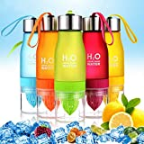 H2O Lemon Water Bottles, 700ml Juice Fruit Infuser Sport Bottle, Frosted Plastic Fruit Squeezer Cup with Two Extra Leakproof Rubber Rings for Sport, Yoga, Outdoor, Cyclyling Healthy Drinks (Rose)