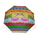 Folding Umbrella For Kids Vector Design Floral Kitsch Indian Windproof Lightweight Rain Umbrella Rain & Wind Resistant Compact and Lightweight For Business and Travels