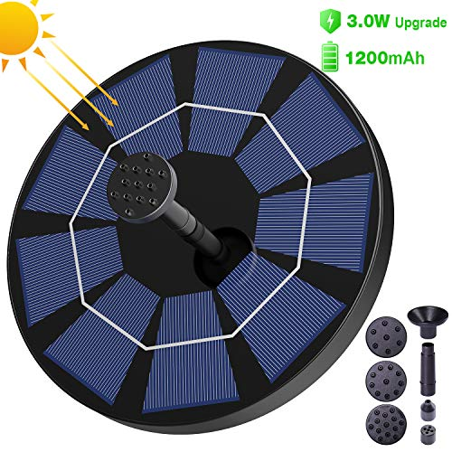SYIHLON Latest Upgrade 3.0 W Solar Fountain Pump for Bird Bath with 1200mAh Battery Backup, Free-Standing Portable Floating Solar Powered Water Fountain Pump for Garden Backyard Pond Pool and Outdoor