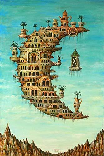 Y-fodoro Puzzles Puzzle Leben auf dem Mond, Holz Salvador Dali Erwachsene 1000 Stück Puzzles, Kinder Erwachsene Kinder Spielzeug Neujahrsgeschenk