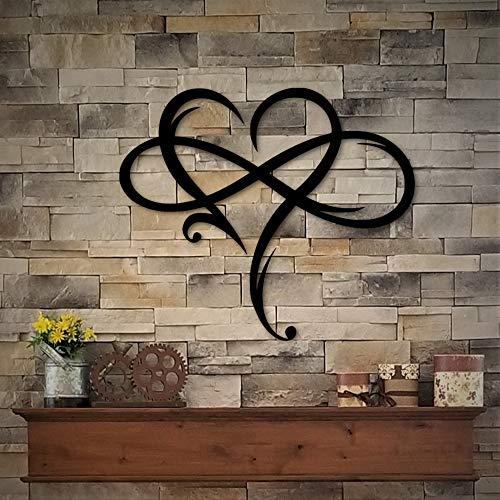 Blafitance - Targa in metallo con simbolo dell'infinito e cuore con simbolo dell'infinito in metallo, per decorazione da parete a forma di cuore e simbolo dell'infinito, 60 cm