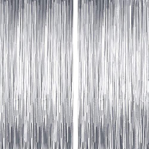 2 Stück Tinsel Vorhänge,Quaste Folie Vorhang Metallic,Folie Fringe Shimmer Vorhang,Folie Fransen Vorhänge Tür, für Hochzeit Weihnachten Graduation Party(silber)