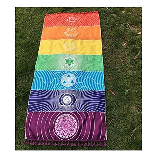 PiniceCore 1pcs borlas Solo Arco Iris de Chakra Tapiz Toalla Mandala Boho Rayas Recorrido Yoga Mat Tapiz