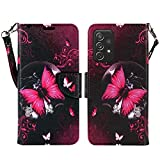 ZASE Schutzhülle für Samsung Galaxy A52 5G (Brieftaschen-Design, PU-Leder, mit Standfunktion, Ausweisfach, Handgelenkschlaufe, kompatibel mit Galaxy A52 5G (2021) (Hot Pink Butterfly)