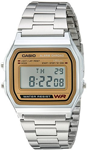 Reloj Casio Digital Retro Unisex, pulsera de Acero Inoxidable