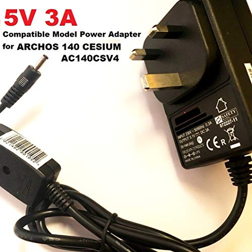 5V 3A Charger for ARCHOS 140 CESIUM Laptop model AC140CSV4