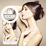 Selfie Ring Light, GIM Rechargeable Light Ring with Mirror , Sunlight / Warm Light Adjustable 40 LEDs for iPhone Samsung Galaxy Sony and Other Smart Phones; Great for Applying Make Up (White) -