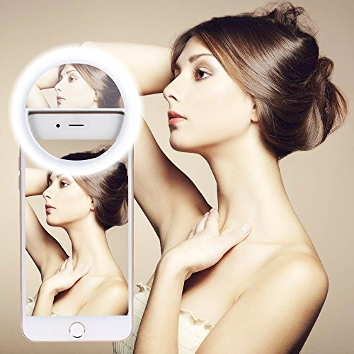 Selfie Ring Light, GIM Rechargeable Light Ring with Mirror , Sunlight / Warm Light Adjustable 40 LEDs for iPhone Samsung Galaxy Sony and Other Smart Phones; Great for Applying Make Up (White)