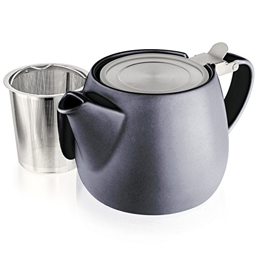Tealyra - Pluto Porcelain Small Teapot Black - 18.2-ounce (1-2 cups) - Matte Finish - Stainless Steel Lid and Extra-Fine Infuser To Brew Loose Leaf Tea - 540ml