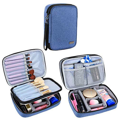 """Teamoy Travel Makeup Brush Case(up to 8.8""""), Professional Makeup Train Organizer Bag with Handle Strap for Makeup Brushes and Makeup Essentials-Medium, Blue(No Accessories Included)"""