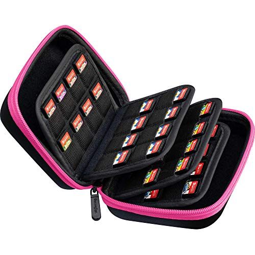 Butterfox Switch Game Card Case, 64 Slots, Storage Holder Hard Case for Nintendo Switch Game or PS Vita Or SD Memory Card (Pink/Black)