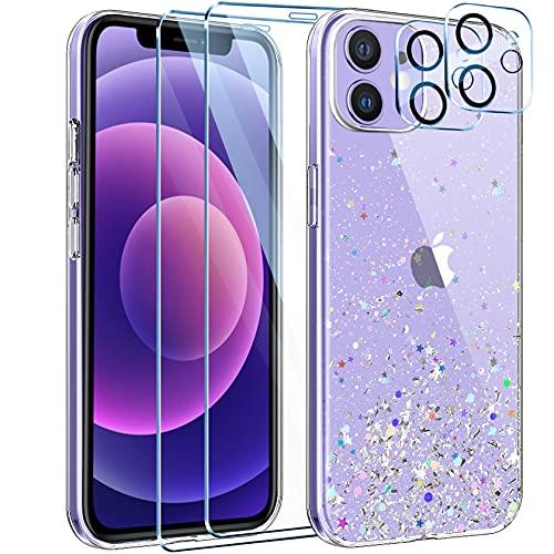 Leathlux Funda Compatible con iPhone 12 Mini+2 Pack Protecto