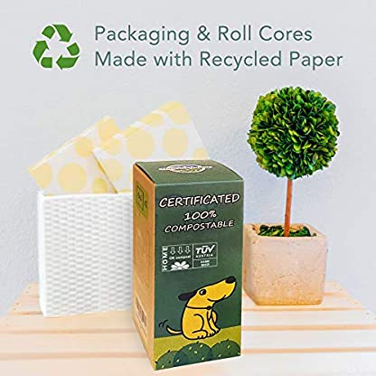 moonygreen Biodegradable Dog Poo Bags - Vegetable-Based, Home Compostable, Microplastic-Free, Unscented and Leak-Proof - 23 x 33 cm, Refill Pack of 120 8