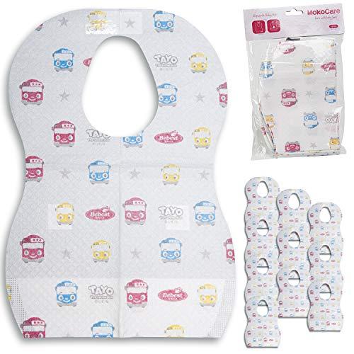 Bavaglini Usa e Getta Monouso Neonato Bambini Svezzamento Impermeabili Regolabili Tasca Raccogli Pappa Tessuto Non Tessuto Casa Viaggio 20 Pezzi 4 Colori Assortiti (Macchinine)