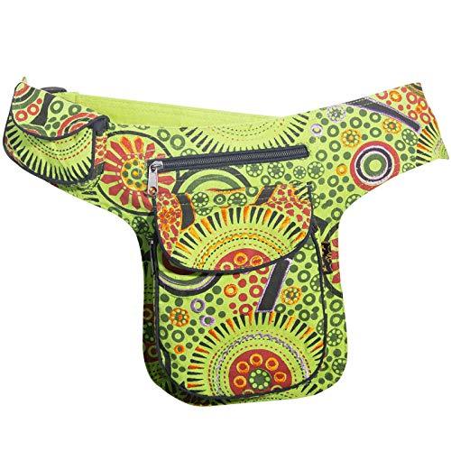KUNST UND MAGIE Goa Schulter/Bauchtasche Gürteltasche Bauchgurt Hippie Psy, Farbe:Grün