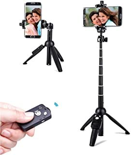 Selfie Stick Tripod,40 Inch Extendable Selfie Stick Tripod with Wireless Remote Control,Compatible with iPhone 12 11 X iPh...