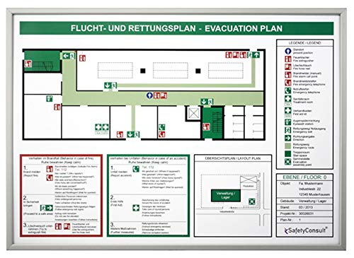 Flucht- und Rettungspläne/Rahmen SafetyFrame stabile Ausführung aus Aluminium, Format: DIN A4 Bildmaß: 29,7 x 21,0cm