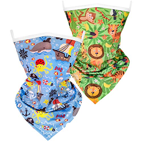 Hzran Kids Bandanas Face Mask, Kids Full-Coverage Tube Face Mask Bandanas Neck Gaiter with Ear loops, Back to School Scarf Bandanas Face Mask for Boys Girls(2 Pack-Priate)