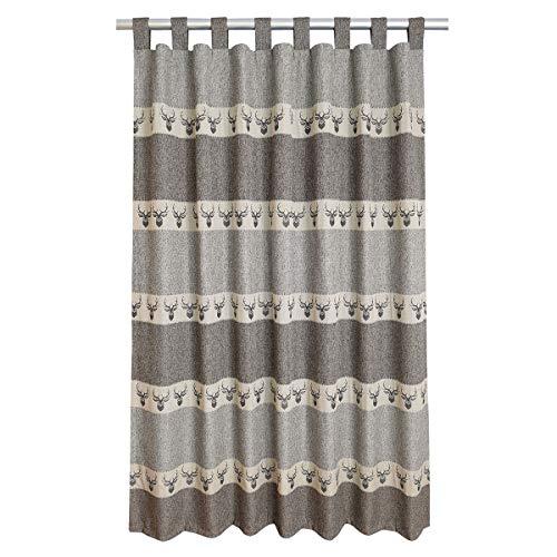 SeGaTeX home fashion Hochwertiger Schlaufen- Alpin Hirsch braun-grau Exklusiver Landhaus-Vorhang 8 Schlaufen HxB 200 x 130 cm