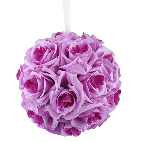 "AerWo Lavender & Lilac Rose Flower Ball Artificial Pomander Bouquet 7"" inch Kissing Ball Wedding Centerpiece Decoration"