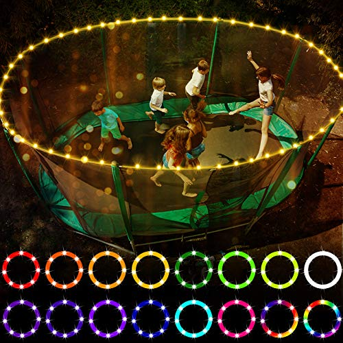 LED Trampoline Lights,Remote Control Trampoline Rim LED Light for 12Ft Trampoline, 16 Color Change by Yourself, Waterproof,Super Bright to Play at Night Outdoors, Good Gift for Kids