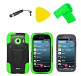 T-Stand Hybrid Cover Case Cell Phone Accessory + Screen Protector + Extreme Band + Stylus Pen + Pry Tool For Samsung Jitterbug Touch3 SM-G310R5 (T-Stand Black/Green)