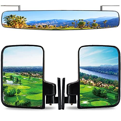Roykaw Golf Cart Rear View Mirror & Folding Side Mirror for EZGO/Club Car/Yamaha