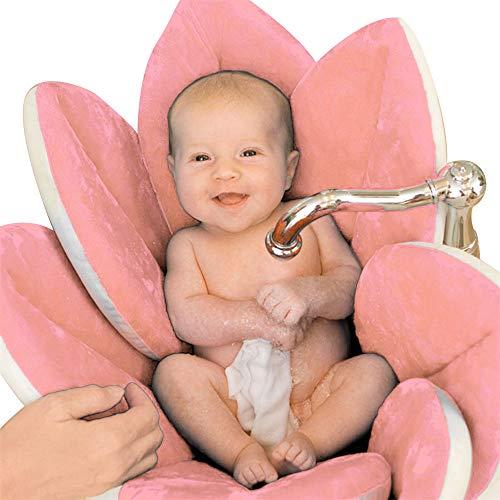 Materassino da Lavandino per Bagno di Neonati a Fiore Pieghevole Morbido Protettivo in Spugna Tappeto da Bagno per Vaschetta Vasca (Rosa)