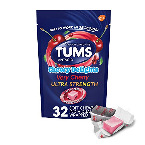 TUMS Chewy Delights Very Ultra Strength Antacid Soft Chews for Heartburn Relief, Red Cherry 32 Count