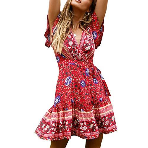 sprwater 2021 Primavera Y Verano Vacaciones Falda Corta Vestido De Playa Estampado con Cuello En V De Manga Corta Premium