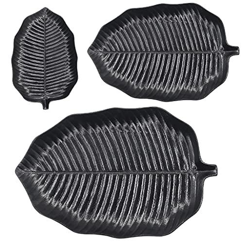 SDFB Juego de 3 Platos de cerámica Negra de 12 Pulgadas, Forma de Hoja, Esmalte Helado, Apto para microondas, bistec/Pasta/Ensalada/Postre/Sushi, Varias especificaciones