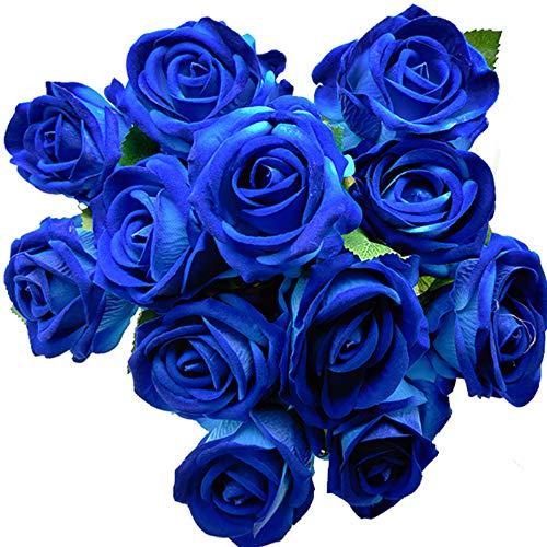 Aisamco 12 Stück Künstlich Rose Seidenblumenblüte Brautstrauß Künstliche Rosen mit Stielen für  Zuhause Hochzeitsdekoration (Blau)