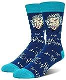 Men's Einstein Portrait Crew Socks, Novelty Gift for Nerd Genius Teacher Adult Shoe Size 8-13