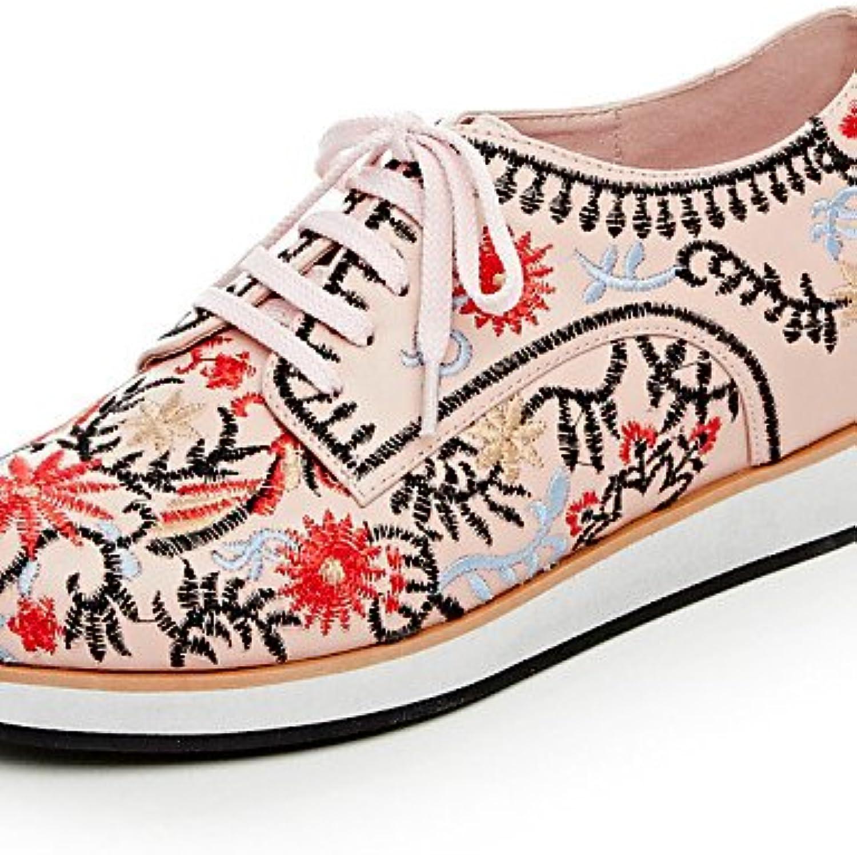 Njx 2016 Damen Schuhe Leder Leinen flach Ferse Komfort rund Oxford Outdoor Casual Rosa Weiß  | Elegante Und Stabile Verpackung  | Ausgezeichnete Qualität