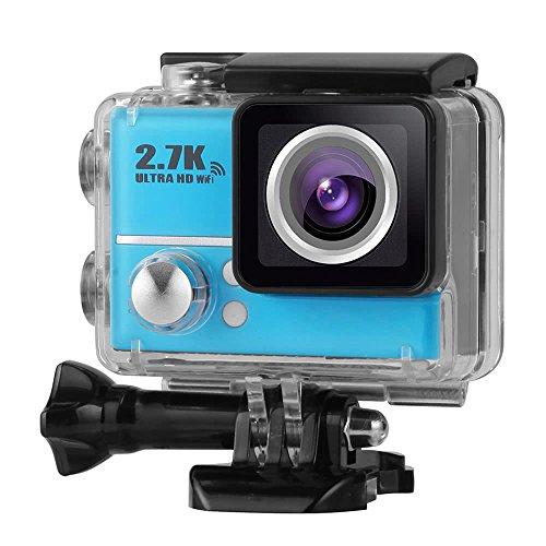 Fotocamera Ultra-HD 1080P 60FPS 14MP WiFi Impermeabile di Azione 2.0 Pollici LCD 2.7K 30FPS 45M con FPV 170 ° Obiettivo grandangolare Video Sport Action Camera e Accessori (Colore : Blue)