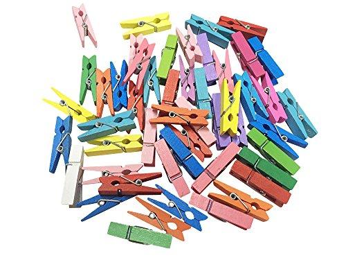 50 x Mini-Holz-Klammern, bunt, Wäscheklammern, Mini Holzklammern, Deko Klammern, Zierklammern, Größe: ca. 3,5 cm