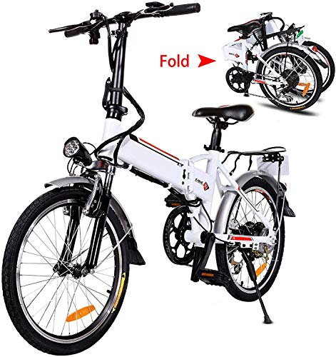 20' Folding Electric Bike with Removable Large Capacity Lithium-Ion Battery (36V 250W), Electric Bicycle 7 Speed Gear and Three Working Modes (White, 20 inch)