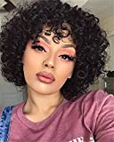 Molefi Human Hair Wigs for Black Women Short Curly Wig for African American Women Brazilian Virgin Human Hair Wigs with Bangs 150% Density Black Color Machine Made Glueless Wig