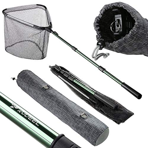 Rodeel Folding Fishing Net, Telescoping Fish Net, Landing Net, Kayak Net, Kayak Fishing Nets, Pole Net, Saltwater Fish Net Strong Rubberized Dip Rubber Fishing Net with Upgraded Bag