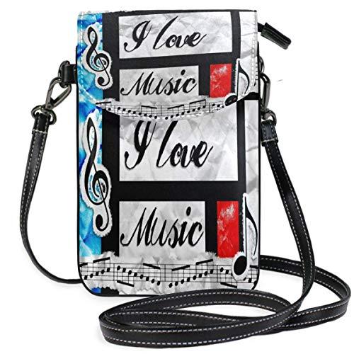 VJSDIUD Monedero para teléfono móvil con notas de apreciación de amor por la música para mujer y niña, pequeños bolsos cruzados