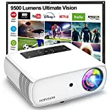 """HOPVISION Native 1080P Projector Full HD, 9000Lux Movie Projector with 150000 Hours LED Lamp Life, Support 4K 350"""" Home Outdoor Projector for Smartphone/ PC/ Laptop/ PS4/ TV Stick/ EXCEL/ PPT"""