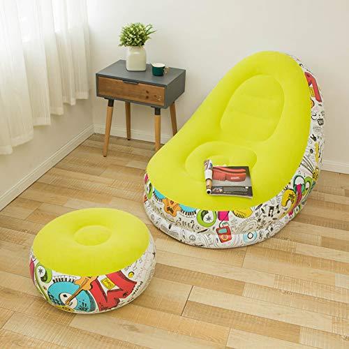 Wopohy - Juego de taburetes de sofá hinchable y plegable para interiores y exteriores, viajes y acampadas